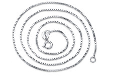 """Elegant New Italy 925 Sterling Silver Box-Chain 18"""" 0.8mm Stamped .925 Necklace"""
