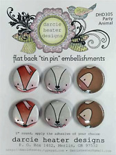 Party Animals Set FLAT BACK TIN PIN Embellishments Set Darcies DHD305 NEW