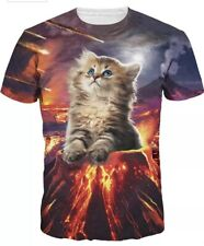 New Colorfino Adult Cat Volcano Polyester/spandex Shirt Size XL