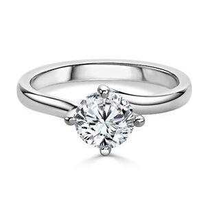 14K White Gold  2.00 Carat Diamond Solitaire Engagement Rings Size L M