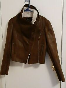 Aviator Flight Bomber Distressed Chocolate Brown Faux Leather Jacket