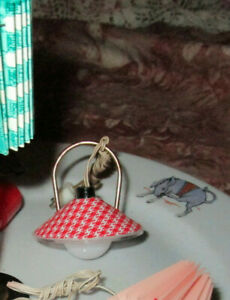 VTG W GERMANY Red HANGING LIGHT WORKING ELECTRIC DOLLHOUSE MINIATURE