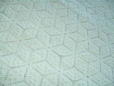 Antique Crochet Cotton Bed Coverlet Vtg Collectible Bedspread Eggshell 68x90""