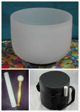 NEW FROSTED CRYSTAL SINGING BOWL 8''A THIRD EYE CHAKRA + BLACK CARRYING CASE