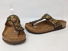 JONAK PARIS WOMENS BROWN LEATHER JEWELED METAL CORK FOOTBED SANDALS SIZE 9