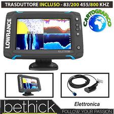 ECOSCANDAGLIO CARTOGRAFICO GPS - LOWRANCE ELITE 7 TI TRASDUTTORE 83/200 455/800