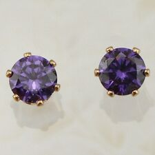 Cute Amethyst Purple Round Cut Jewelry Yellow Gold Filled Stud Earrings H2037
