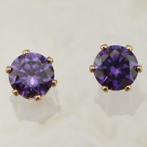 Cute Amethyst Purple Round Cut Jewelry Yellow Gold Filled Stud Earrings H2037