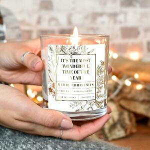 Personalised Wonderful Time of Year Christmas Scented Candle Xmas Gift Home