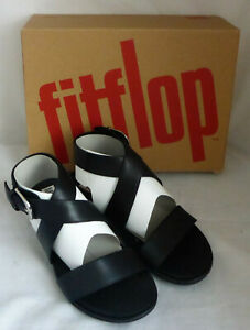 Fitflop Graccie Back Strap All Black Leather Ankle Wrap Sandals Shoes Box Size 3