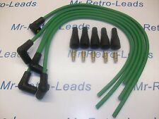 """GREEN 8MM PERFORMANCE IGNITION LEAD KIT FOR 4 CYL 90""""DEGREE SPARK HT... KIT CAR"""