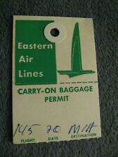Eastern Air Lines Carry On Luggage Tag - Vintage 1950's Logo EAL Baggage Label