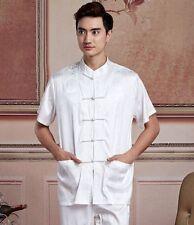 Beige white Chinese Men's Silk/satin Kung Fu Shirt Tops Sz: M L XL XXL XXXL
