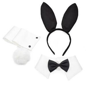 Bunny Costume Accessory Set Rabbit Ear Headband Bow Tie Collar Cuffs Tail