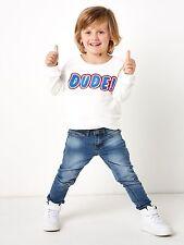 Boys Jumper Sweatshirt New 5-6 Years White Long Sleeve 100% Cotton Dude Motif