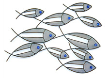 Metal Wall Art Shoal of Fish Sculpture /Statues Home Garden Ornaments 5310