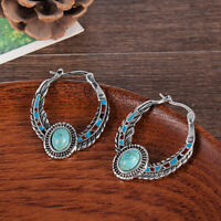 Vintage Women Tibetan Silver Turquoise Dangle Drop Hoop Earrings Boho Jewelry