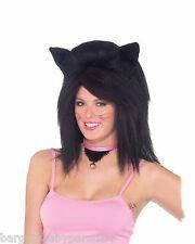 Black Feline Fantasy Wig with Ears Wild Cat Kitten Panther Halloween Accessory