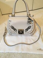 COACH NEW handbag ivory with silver studs and turquoise