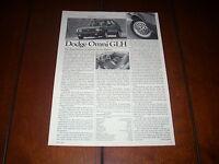 1984 DODGE OMNI GLH ORIGINAL ARTICLE