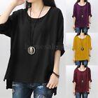 ZANZEA Women Long Sleeve Split Casual Loose Cotton Blouse Shirt Tops Jumper Plus