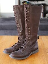 LUCKY BRAND Womens Knee High Motorcycle Lace Up Boots Sz 9M / EUR 39 Dark Brown
