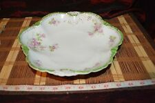 Rosenthal RC Versailles Germany Hand Painted Pink Floral Green Edge Bowl 9 5/8""