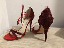 Stuart Weitzman Red Satin Feathered Ankle Strap Sandals SZ 7.5