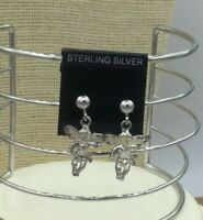 Vintage Sterling Earrings 925 Angel Cherub LLC Pierced Post Drop