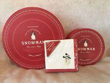 WILLIAMS-SONOMA - SNOWMAN - 6 DESSERT PLATES, 6  MUGS & PAPER NAPKINS - EUC