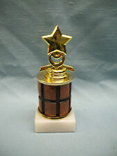 Star trophy award white marble base turned wood column