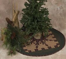 "FEATHERED STAR QUILTED CHRISTMAS TREE SKIRT SMALL 23"" D TEA DYED"
