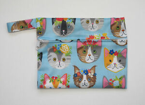 Small Wet Bag for Reusable Breast Pads, Wipes, Cloth Pads - Kawaii Cats