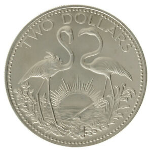 Bahamas - Copper-Nickel 2 Dollars Coin - 'Flamingos' - 1974 - UNC