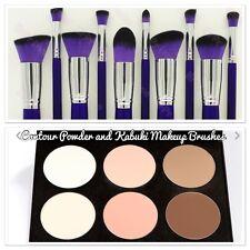 Matte Contour Conceal & Highlight Palette &10 Piece Pro Kabuki Makeup Brushes
