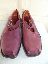 CYDWOQ Purple Leather Mary Jane Shoe Women Size 38 / 8M Hand Made in USA