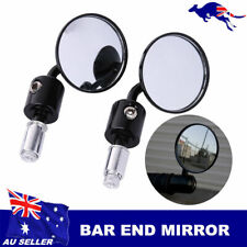 BLACK MOTORCYCLE CNC CONVEX BAR END MIRRORS 4 CAFE RACER CLUBMAN BOBBER BUELL