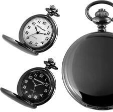 Excellanc Quarz analog Taschenuhr 47mm Schwarz glänzend 33cm Kettte Sprungdeckel