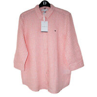 Tommy Hilfiger  pure Linen  3/4 Sleeve Shirt-Mini Gingham washed watermelon UK8