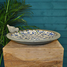 Antique Vintage Style Floral Blue & White Ceramic Garden Bird Bath *Lovely Gift*