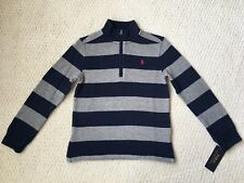 NWT $55 Ralph Lauren Boy's Navy & Grey Striped French-Rib Pullover Sweater Sz. 6