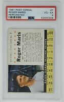 1961 Post Cereal New York Yankess HOF #7 ROGER MARIS Baseball Card PSA 4 VG-EX