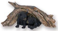 2 Bear Cubs Under Tree Log Statue / Animal Resin Figurine - RAI 93517
