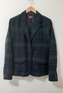 MERONA Women's Green & Navy Trim Blazer Jacket Pattern Plaid Size 12