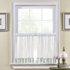 Bristol Rod-Pocket Window Tiers 58x36in White/ Green  Defect FREE SHIPPING A13
