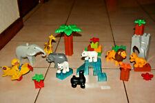 LOT LEGO DUPLO ZOO ANIMAUX SAUVAGES AVION ARBRE