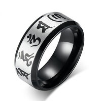 His Her Religious Stainless steel ring Buddhism Om mani padme hum band Sz 6-12