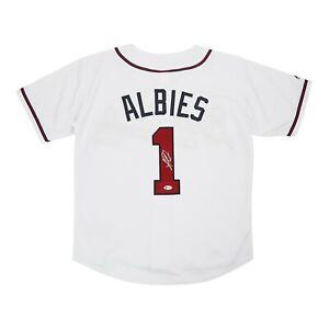 Ozzie Albies signed Atlanta Braves Home White Majestic Men's Jersey BECKETT COA