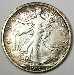 1916-D Walking Liberty Half Dollar 50C Coin - Choice AU Details - Rare Date!