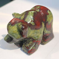 Natural Dragon Blood Stone Crystal Quartz Bear Carving Reiki Healing Collect
